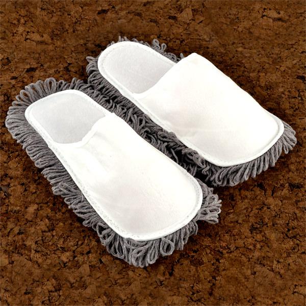 Putz Hausschuhe mit Lappen Staubfänger Mikrofaser Sohle Reinigungstuch Schuhe Gr