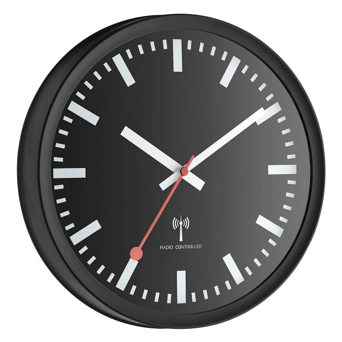 EDEL Funkuhr Wanduhr Funk Uhr Bürouhr sweep Uhrwerk Geräuscharm leises ticken