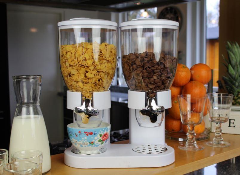 EDEL Müsli Cornflakes Dispenser Spender Halter Frühstücksflocken Box Dosierer