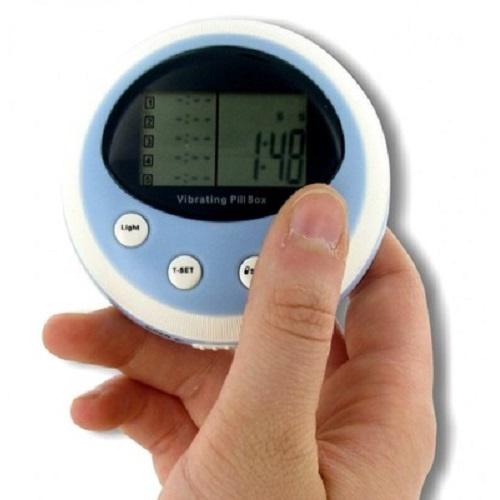 PROFI vibrierende Pillenbox mit Vibration Alarm Pillendose Pulsmesser Wecker Uhr