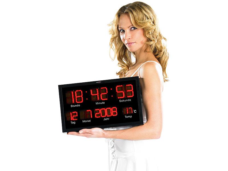 LED Uhr Wanduhr Rot Datum Temperatur Anzeige digital Fitnessstudio Büro Praxis
