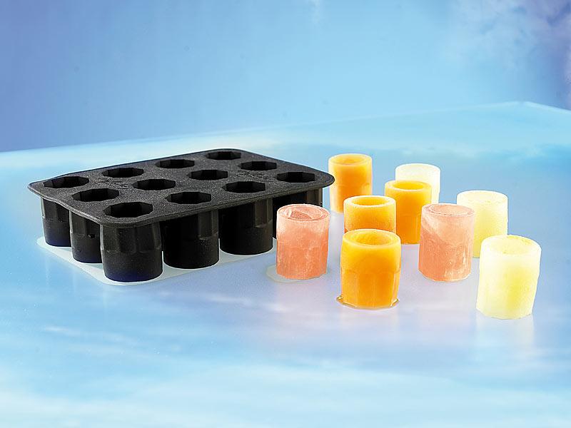 PROFI Eisformen 12 Schnapsgläser aus Eis PARTY EISWÜRFEL kurze Gläser Alkohol