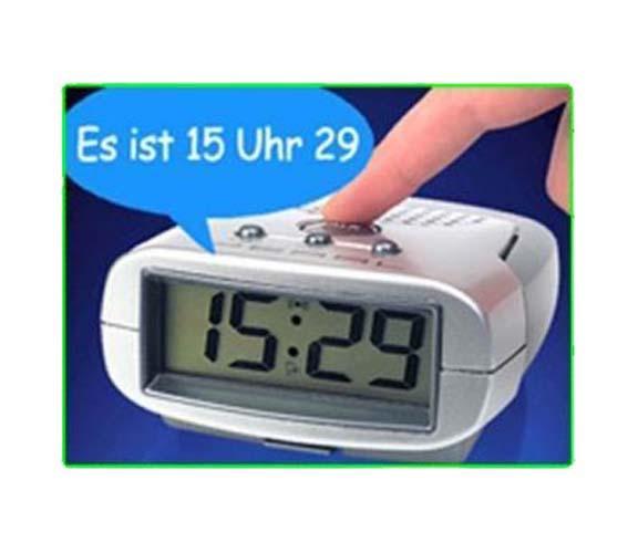 LUXUS Sprechender Wecker mit Zeitansage Uhr Digital Ansage Uhrzeit DEUTSCH