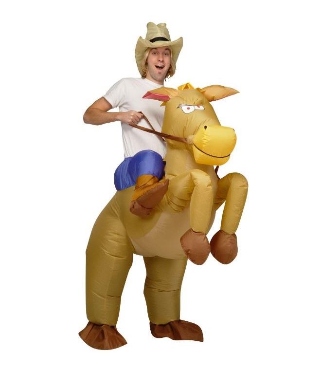 XL Aufblasbares Pferdekostüm Cowboy Kostüm Fasching Karnevall Pferd Reiter Anzug