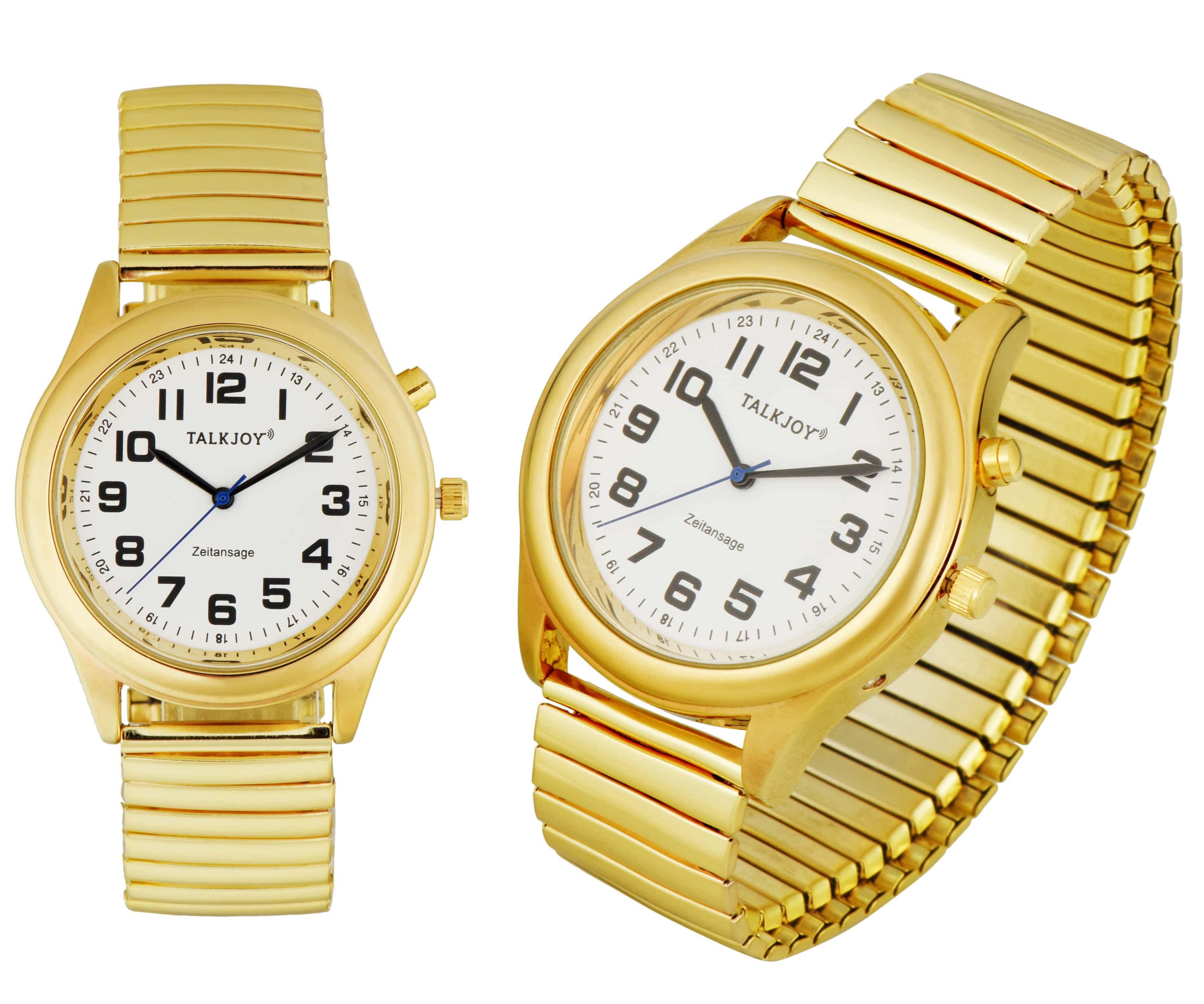PREMIUM Damen Sprechende Armbanduhr GOLDENE Uhr Senioren Blindenuhr Zeitansage