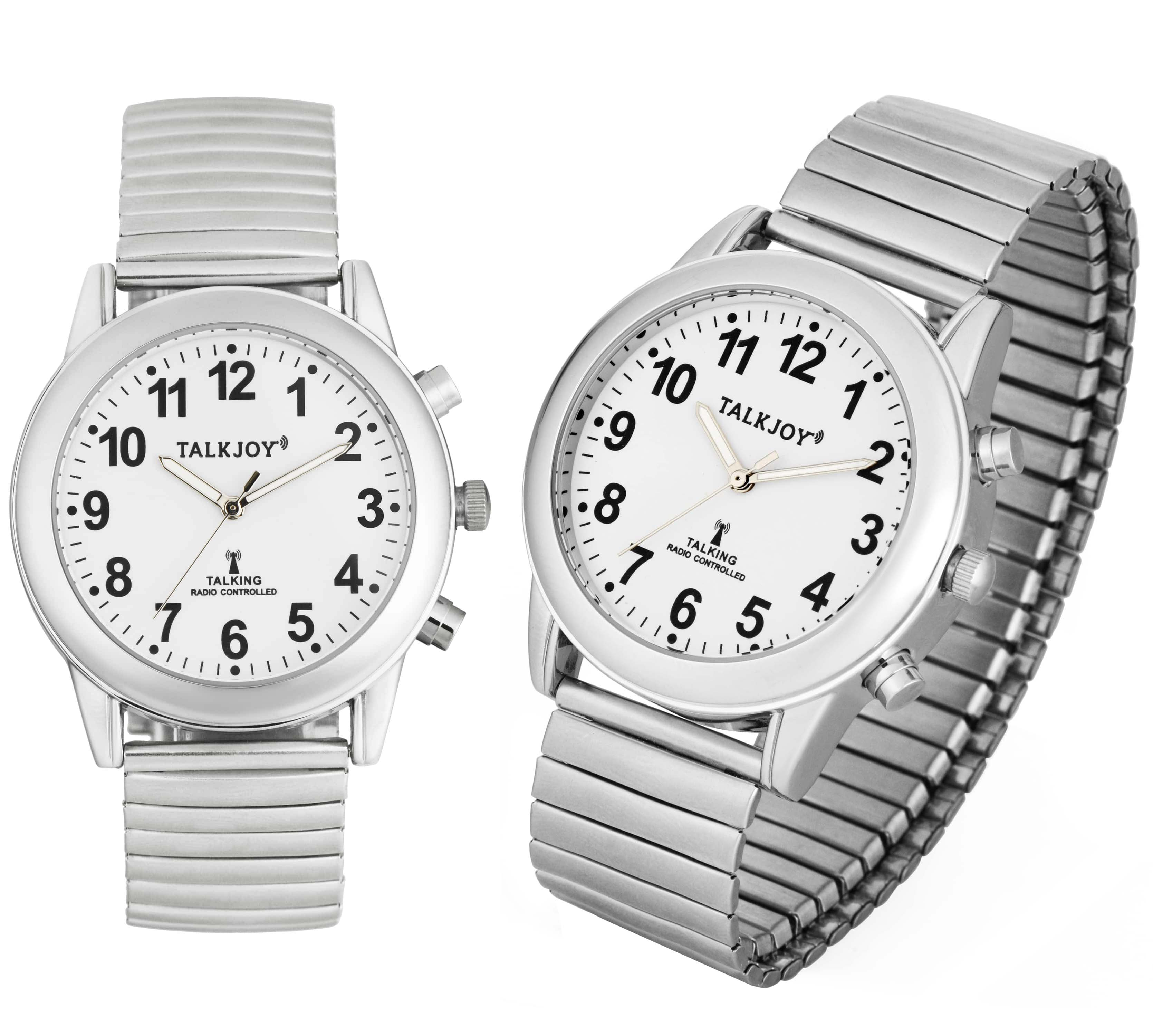 FUNKUHR Damen Sprechende Armbanduhr Uhr Funkarmbanduhr SILBER Blindenuhr Datum