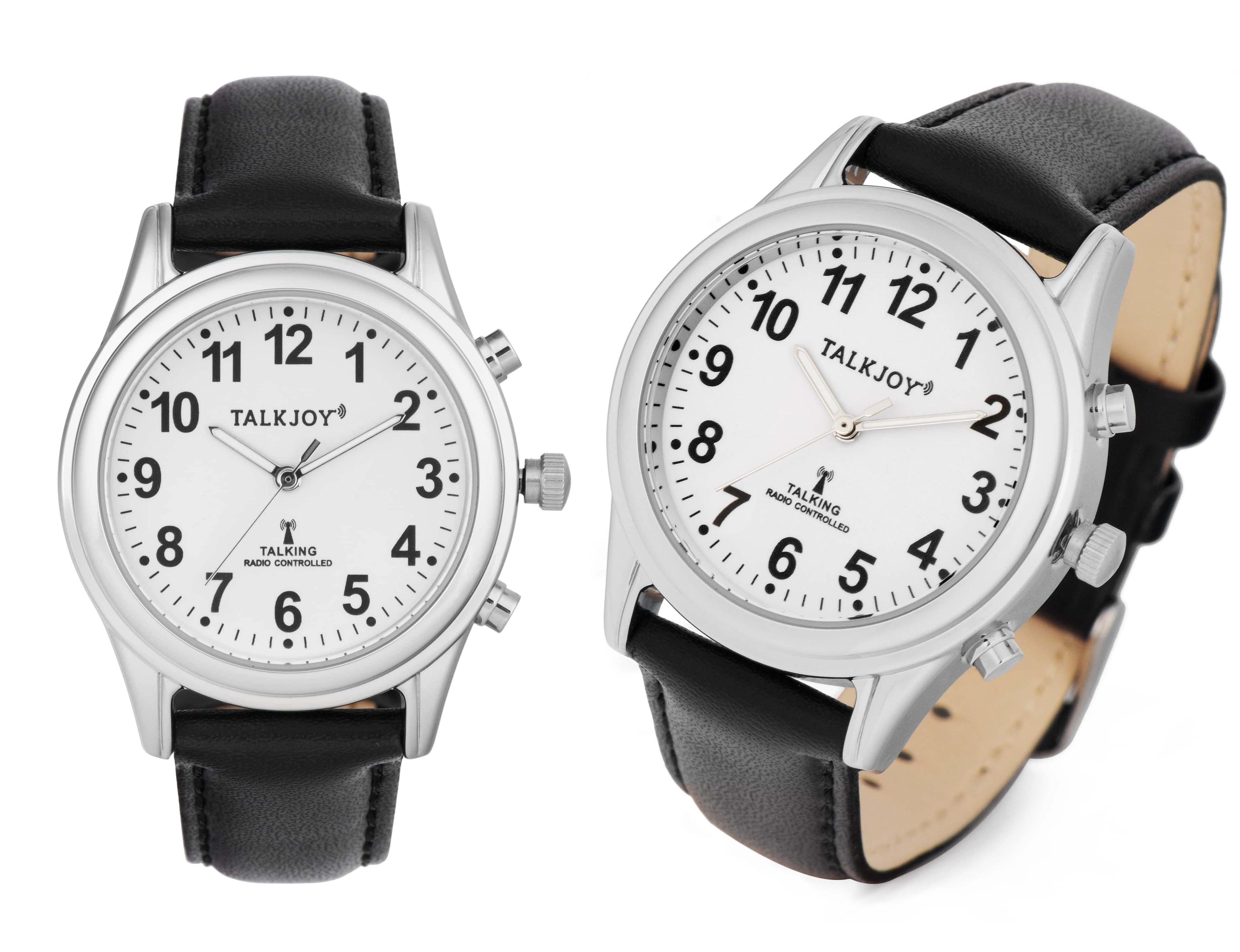 PRO DAMEN Sprechende Armbanduhr Uhr Funkuhr Lederarmband Seniorenuhr Blindenuhr