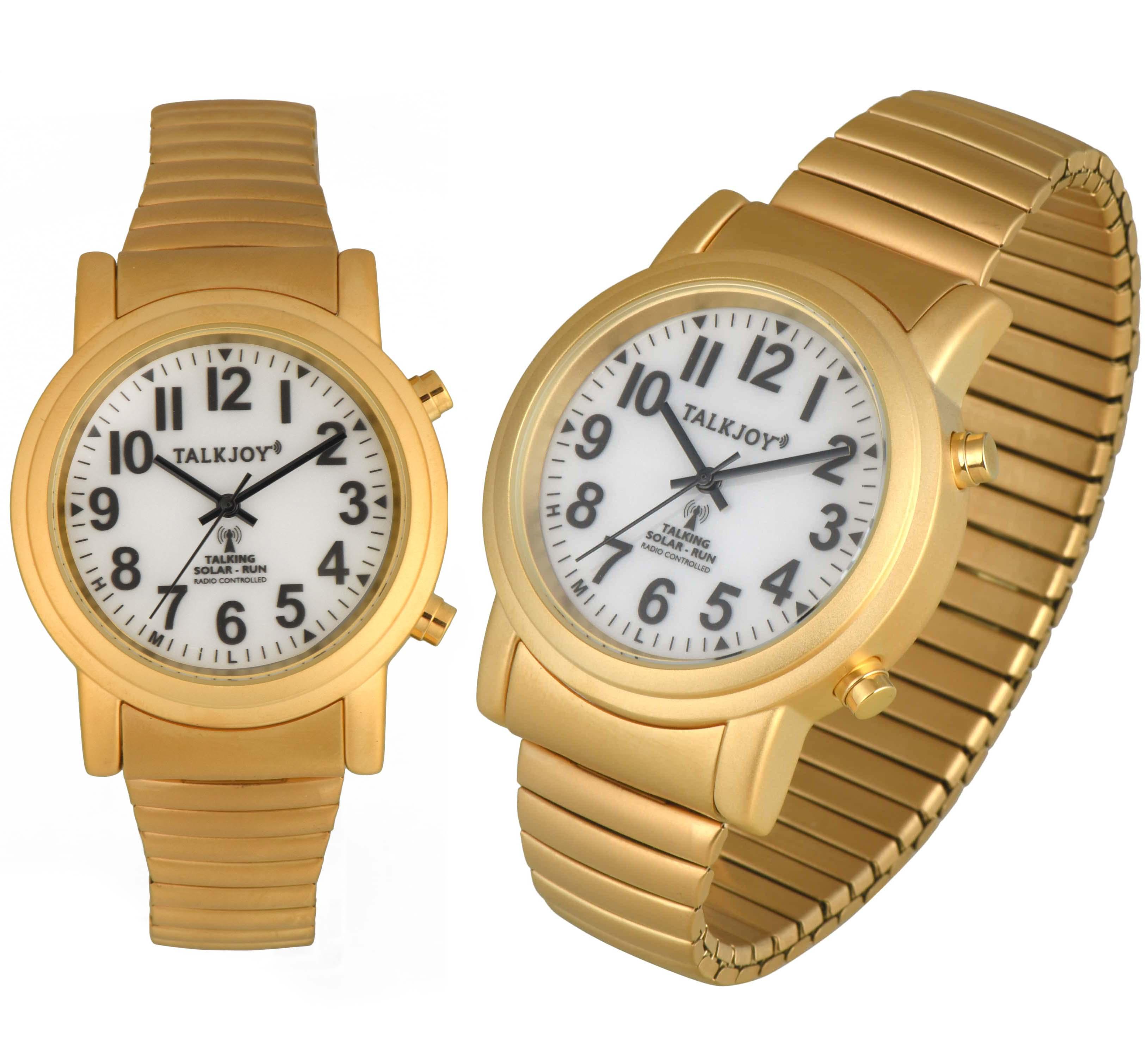 SOLAR Funkuhr Funkarmbanduhr Zeitansage GOLDENE Sprechende Uhr Armbanduhr Blinde