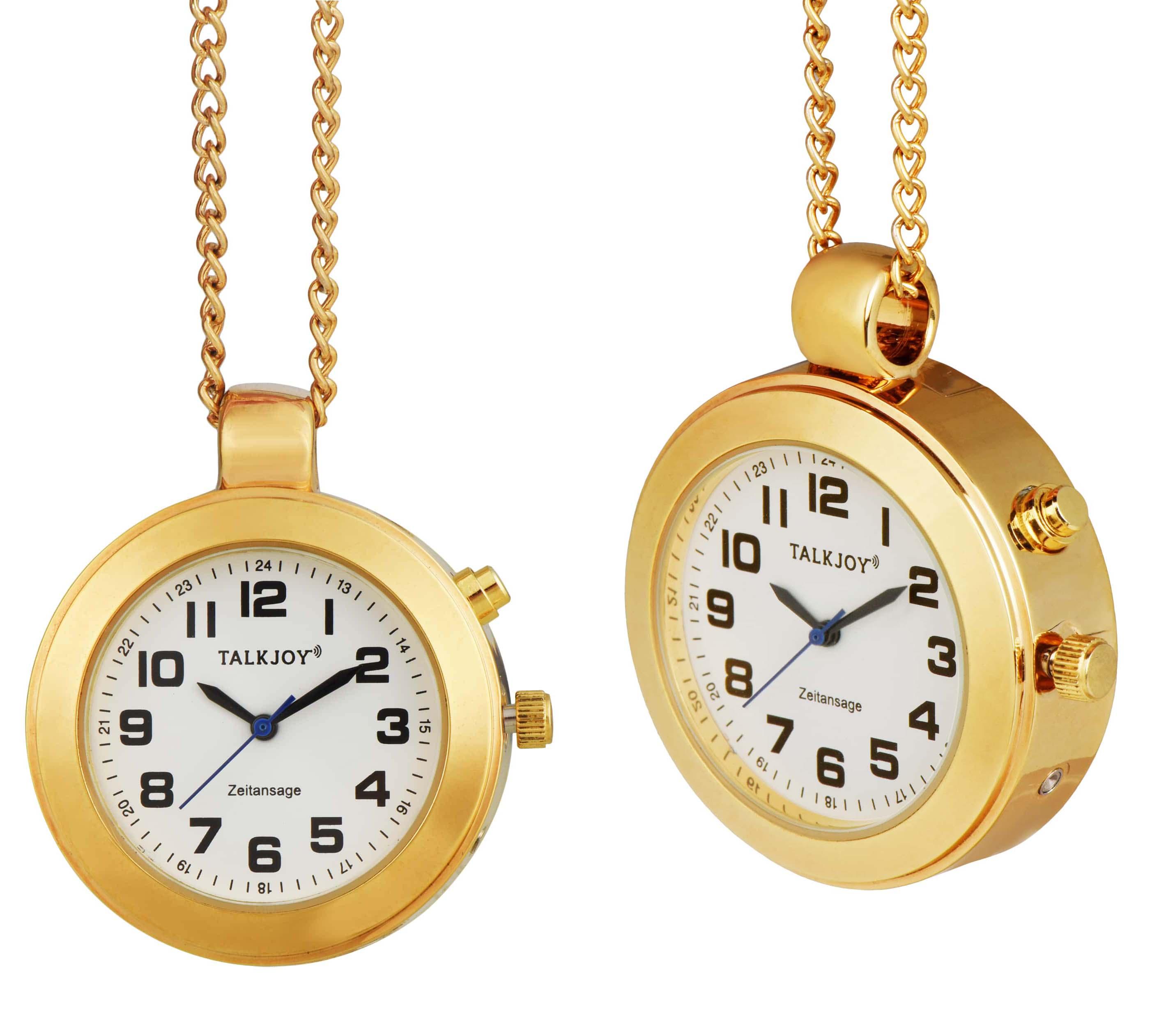 HALSBAND Goldene Sprechende Uhr Anhänger UMHÄNGEUHR DAMEN Taschenuhr Seniorenuhr
