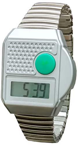 PRO METALLZUGARMBAND Sprechende Armbanduhr SILBER Blindenuhr Wecker Senioren Uhr