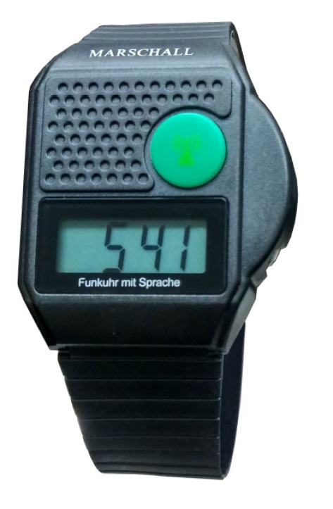 SCHWARZ Uhr Funkarmbanduhr Schwarz spricht die Uhrzeit Blindenuhr sagt Zeit an