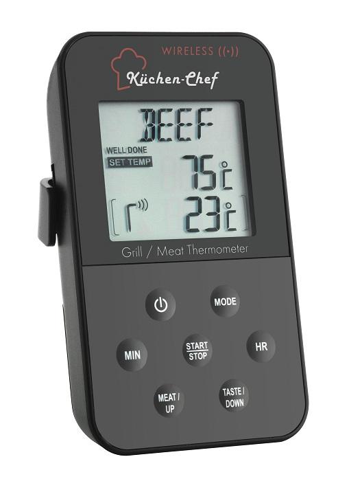PRO Funk Grill Bratenthermometer Thermometer Fleisch Temperatur messen kabellos