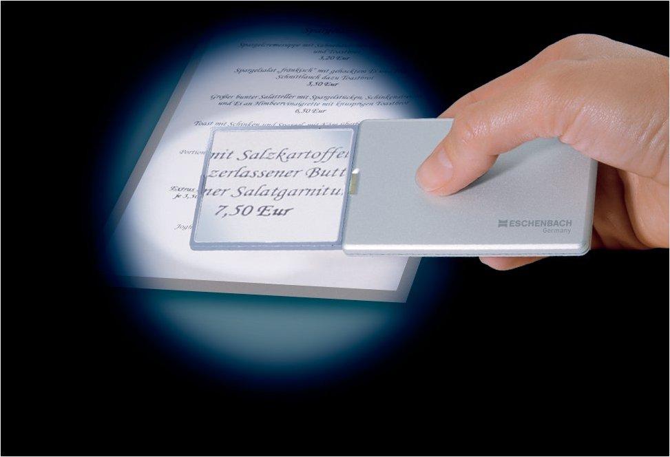 PREMIUM Taschen Lupe mit LED 3x silber flach Lesehilfe Sehschwäche Handtasche