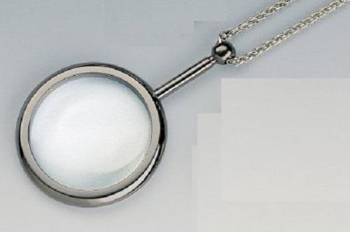 EDEL Schmuck Lupe 3,5-fach Schmucklupe mit Kette CHROM Silber Amulett Halskette