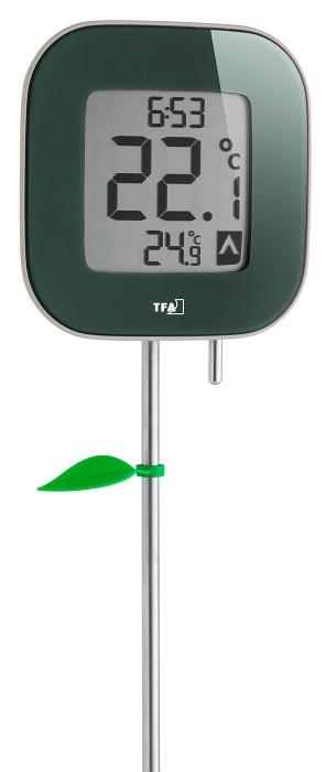 PROFI Digitales Gartenthermometer Garten Thermometer Außenthermometer Uhr Stab
