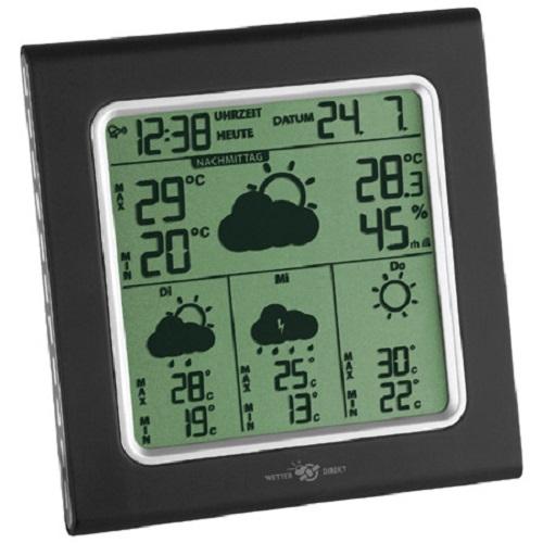 PROFI Funk Wetterstation Satellitentechnik Außentemperatur Messer Uhr Wecker
