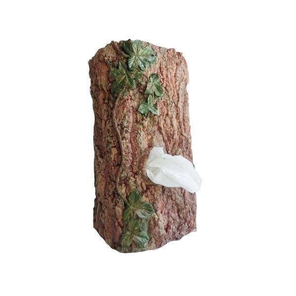 EDEL Taschentuchspender Holz Optik Baum Baumstumpf für Taschentücher Box Halter