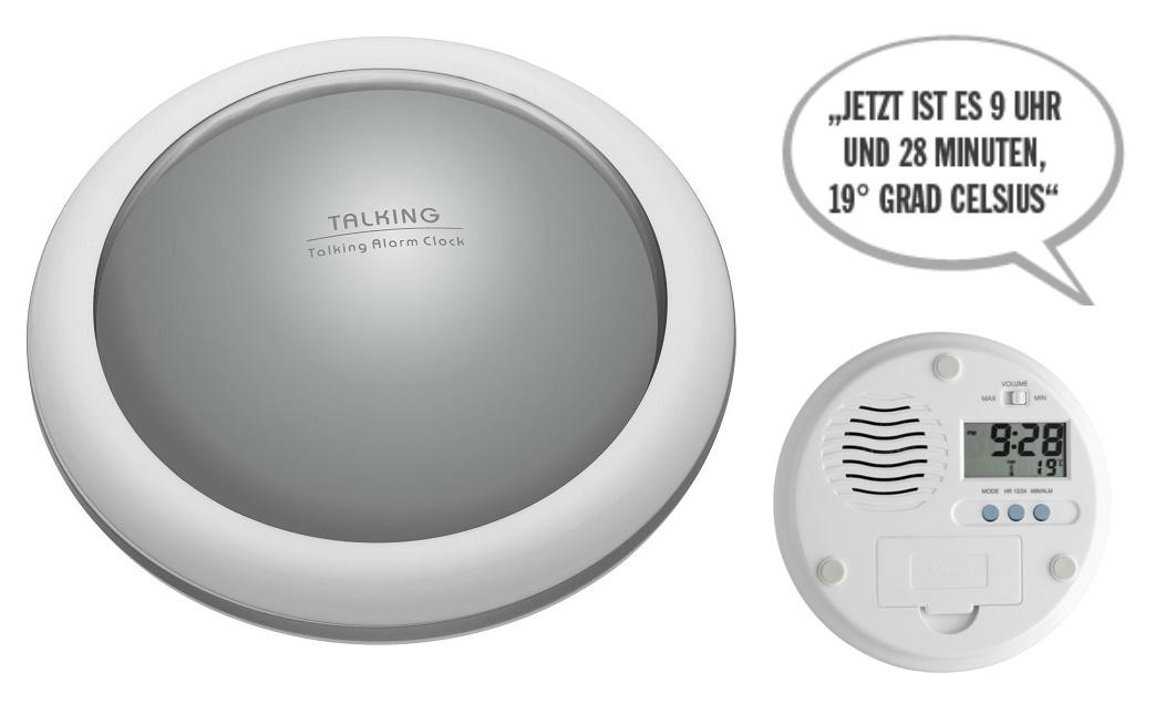 PROFI Sprechender Wecker Thermometer Temperaturansage Uhrzeitansage Zeitansage