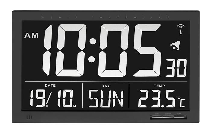 PREMIUM Funkwecker Funkuhr mit großem invertiertem Display Thermometer Datum