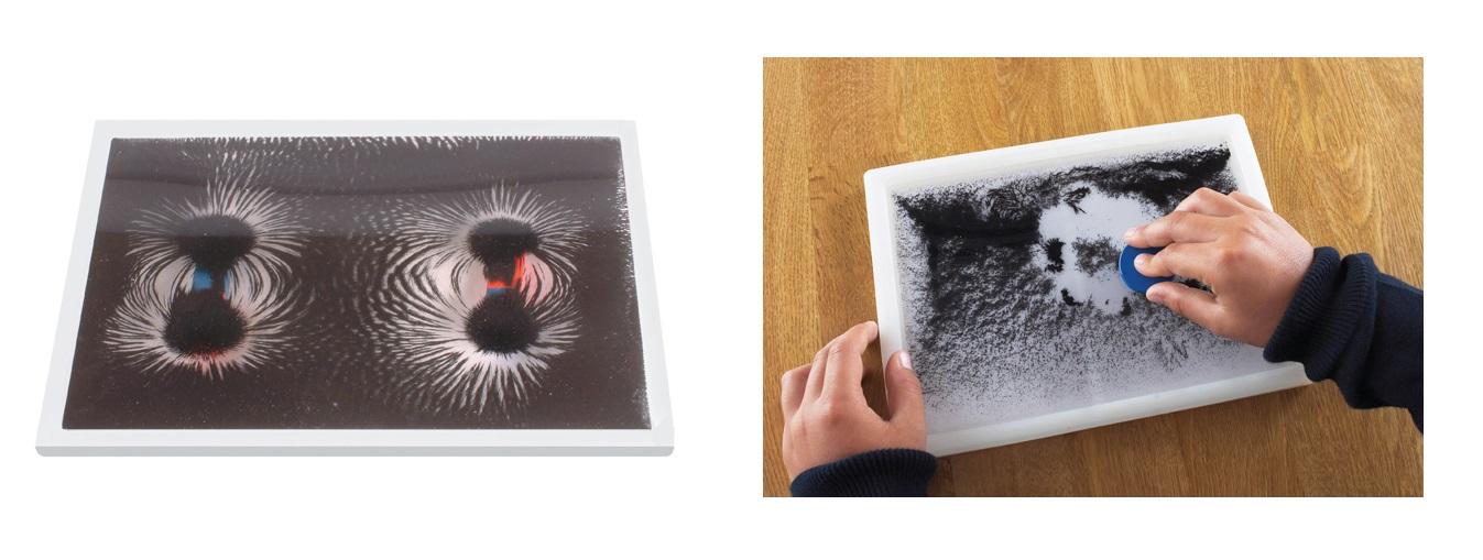 Eisenpulver Eisen Pulver Bilderrahmen Experimente Magnetfelder Linien Magnet