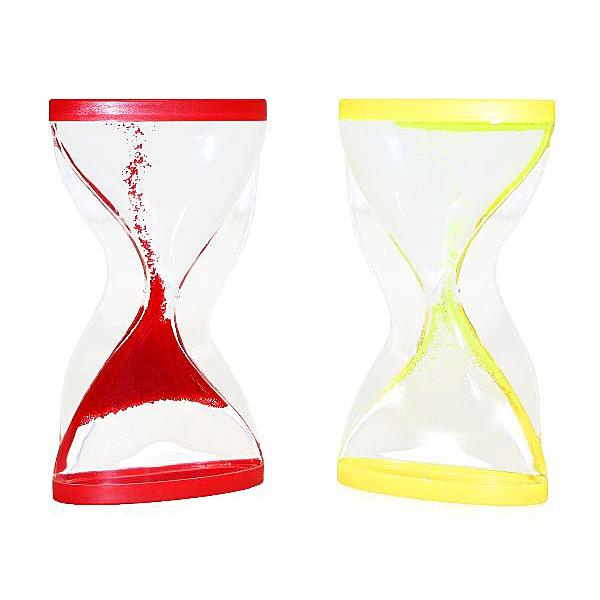Flüssigkeitssanduhr rot gelb Sanduhr negativ läuft hoch nach oben Eieruhr 4 Min