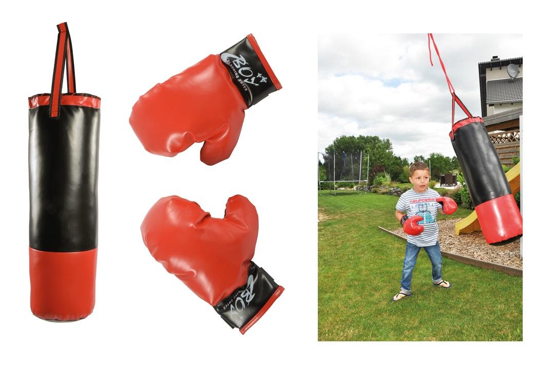 Boxsack 5 kg 60cm für Kinder Jugendliche Handschuhe schwerer Boxen Anfänger Set