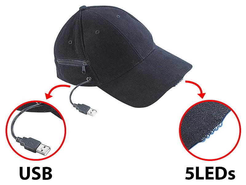 PROFI Cap Jogger Bauarbeiter Mütze LED Licht Baseball Cappy AKKU Taschenlampe