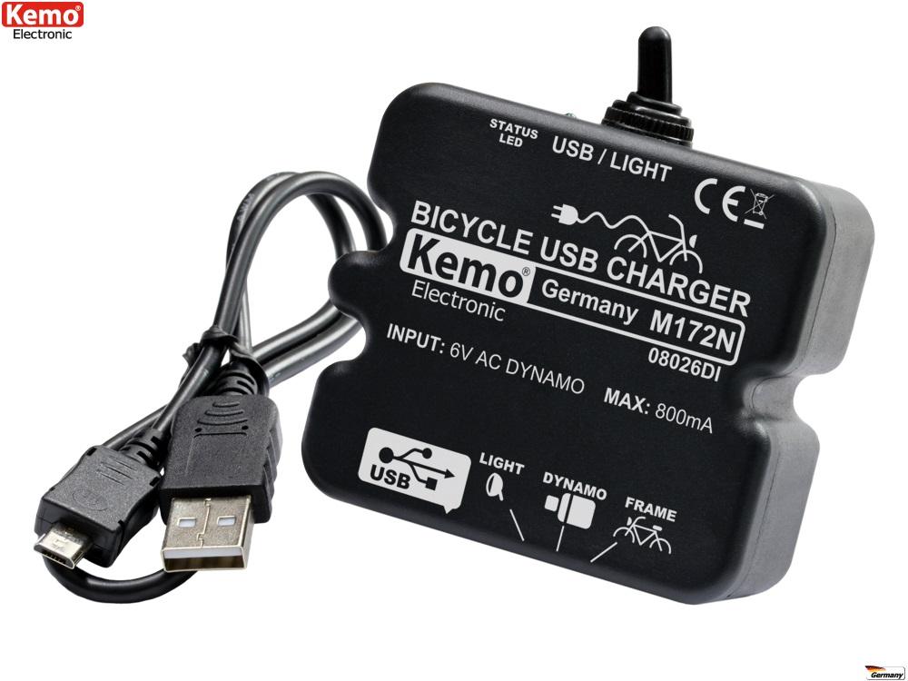 Fahrrad Power Laderegler Dynamo mit USB für Handy Navi MP3 Strom Erzeugen M172N