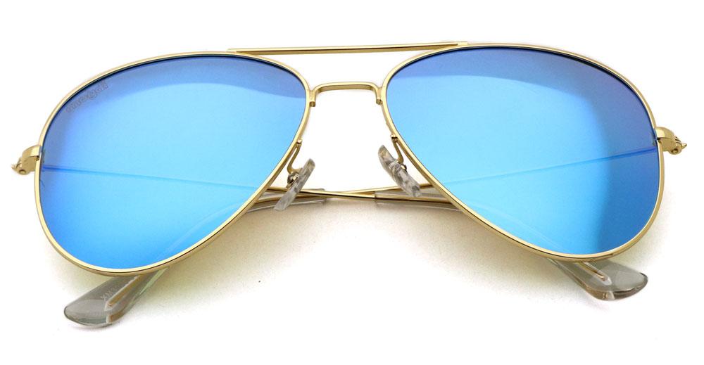 Sonnenbrille Blau-polarisiert Gold Transparent