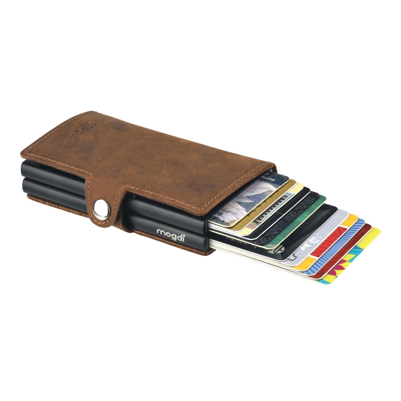PREMIUM duo Herren Portemonnaie vintage braun Leder Kartenhalter schwarz RFID