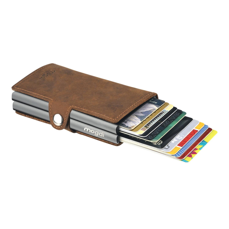 PREMIUM duo Geldbeutel braun Business Wallet Herren Karte anthrazit RFID Blocker