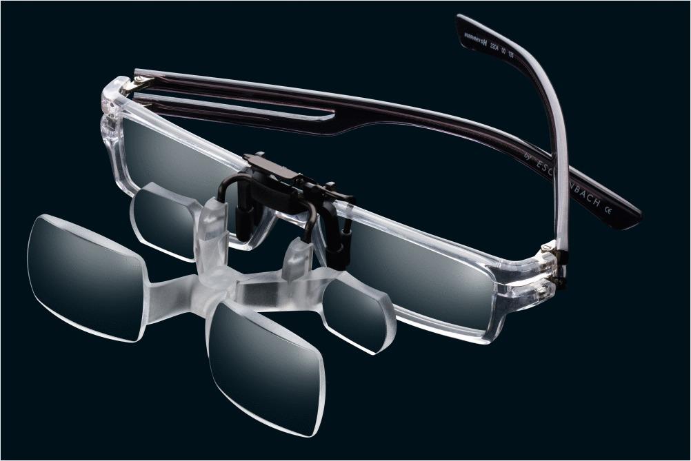 Online gehen später neue Kollektion PROFI Vorsatzlupe Lupe Brille f Brillenträger CLIP 2 Lupenbrille Aufsatz  Halter