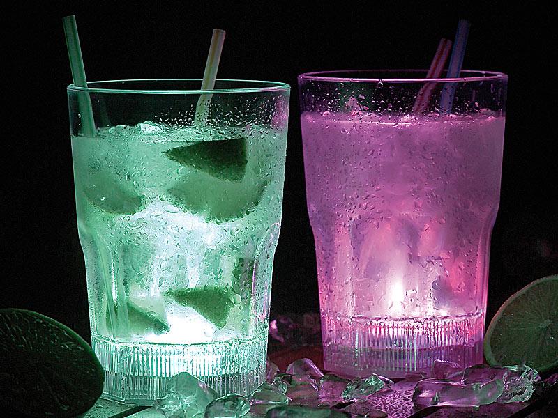 2x Longdrink Gläser mit LED Farbwechsler Cocktail Glas Party Plastik Bar Zubehör