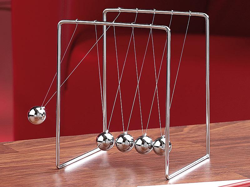 EDEL Newtons Kugelstoßpendel Kugel Pendel Büro Geschenk Beruhigung stoßen Spiel