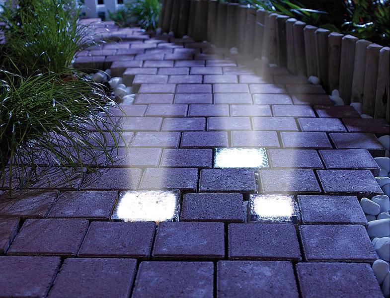 EDEL Solar Glasbaustein LED Bodenstrahler Glas 10x10 cm Baustein beleuchtet