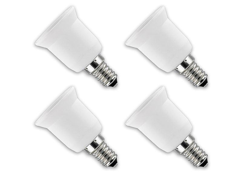 PROFI 4 x Lampensockel Adapter Sockel E14 auf E27 Licht Gewinde ändern Glühbirne