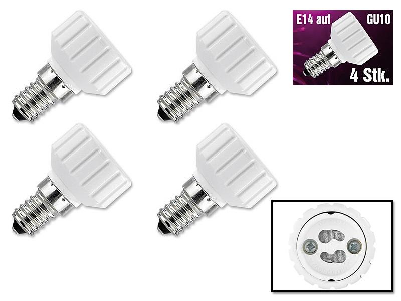PROFI 4x Lampensockel Licht Adapter E14 auf GU10 4er Set Gewinde Lampe Glühbirne
