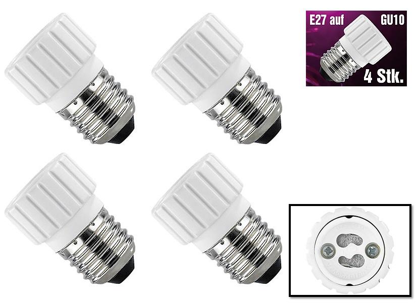 PROFI 4x Lampensockel Licht Adapter E27 auf GU10 4er Set Gewinde Lampe Glühbirne