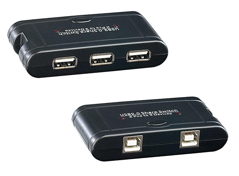 PROFI USB Switch HUB Umschalter für 3 USB Geräte an 2 PC Drucker Festplatte usw