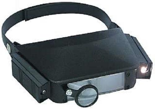 PROFI Stirnlupe Kopflupe Lupenbrille Lupe + Licht Brillenlupe Brille LED Leuchte