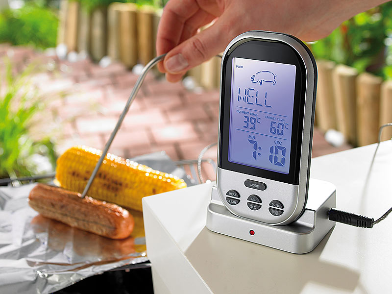 PRO Bratenthermometer Funk digitales Grillthermometer Steak Temperatur ermitteln
