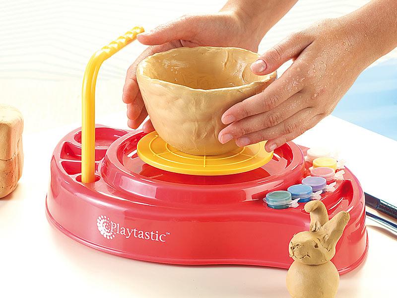 LUXUS Töpferset Vasen töpfern Ton Farben Komplettset Töpferscheibe Kinder Spiel