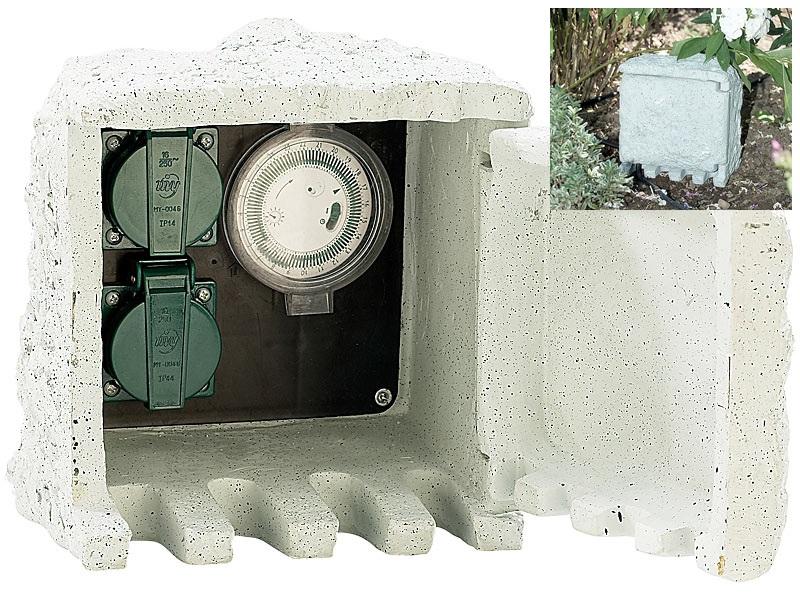 PROFI Gartensteckdose mit Zeitschaltuhr Gartenbeleuchtung Schaltzentrale Garten