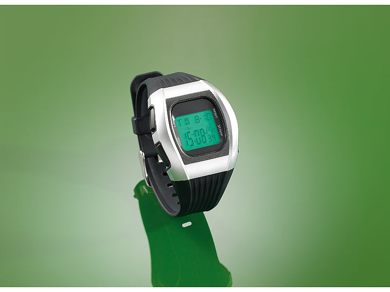 PROFI Sport Funkuhr Armbanduhr Uhr LCD Chronograph Licht Stoppuhr Funk Wecker