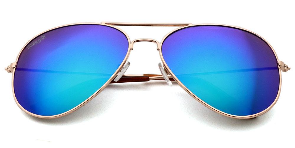 Sonnenbrille Gruen Gold Braun