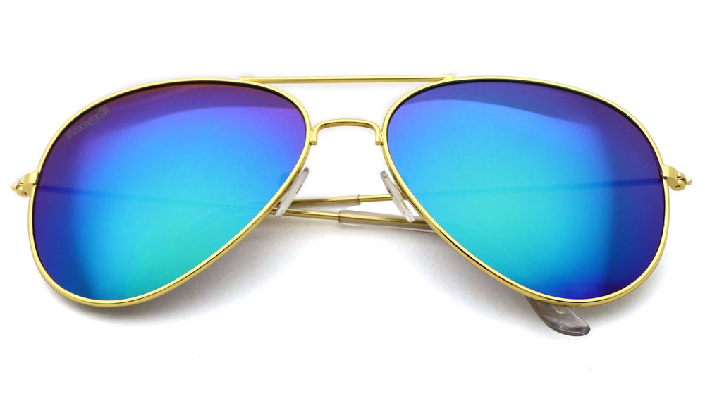Sonnenbrille Gruen Gold Transparent