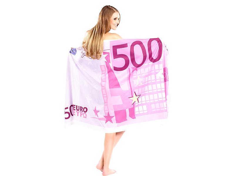 LUXUS Badetuch Handtuch 500 € Euro Geldschein Euroschein Schein Sauna Tuch Bad
