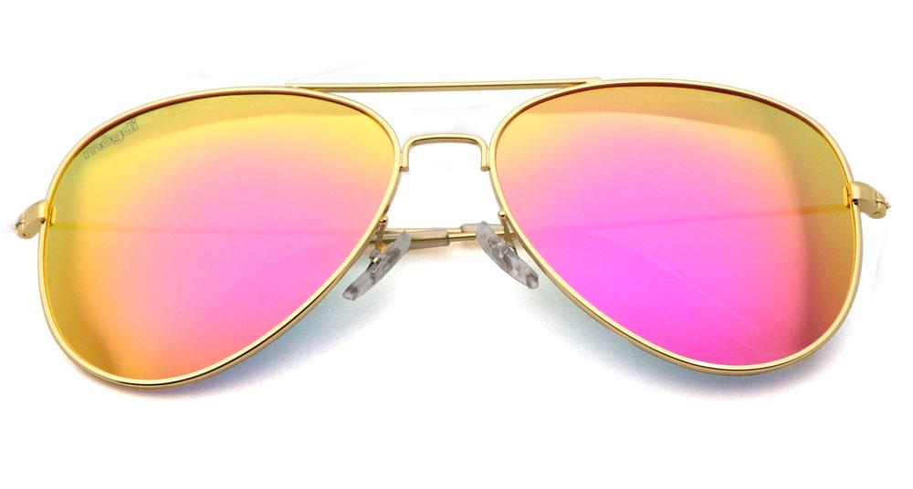 Sonnenbrille Lila-Rot-polarisiert Gold Transparent