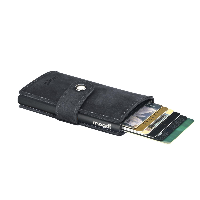 BLACK mini Herren Brieftasche vintage schwarzes Leder Portmonee schwarz RFID