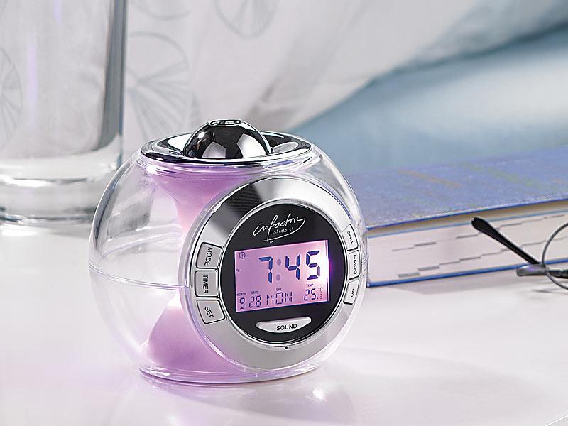 PREMIUM Projektionswecker Wecker Uhr Alarm Farbwechsel Naturklänge Thermometer